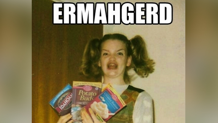 In 2012' a photo of an awkward 12-year-old with crooked pigtails and dental braces went viral' with internet users turning it into a meme by adding humorous speech bubbles of mangled words. She became known as the 'Ermahgerd girl'.