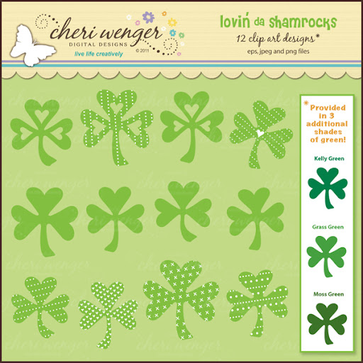 this set of clip art shamrocks