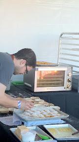 Joel Stocks And William Preisch of Holdfast plating their Cornbread Madeleine, Lardo Parmesan, Honeycomb