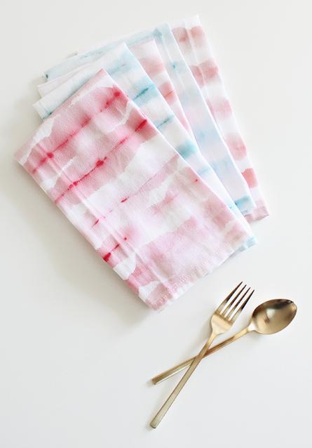diy watercolor tea towel