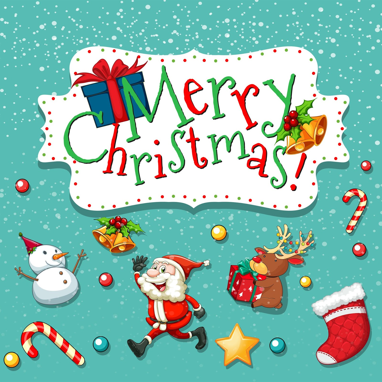 Christmas Theme With Santa Snowman Free Download Vector CDR, AI, EPS and PNG Formats