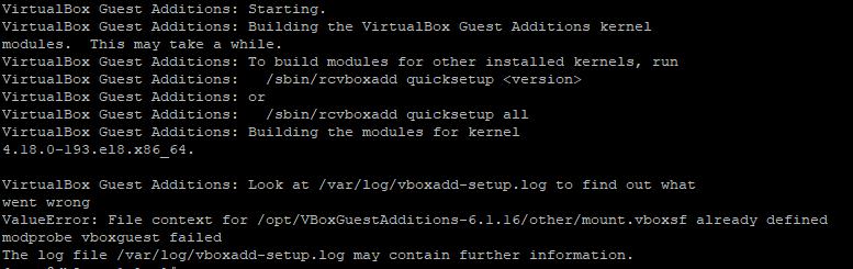 VirtualBox Guest Additions setup failure