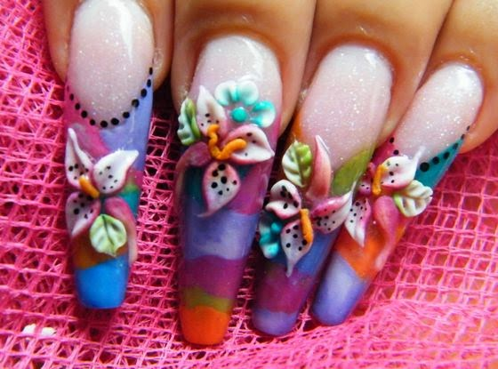 Long 3D Nail Art Designs with 3D Flower Nail Art - 3D Nail Art Designs 2014 – Magranace