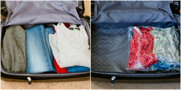 photo collage showing one suitcase with folded clothes and another with the clothes in a bag showing how much room is saved
