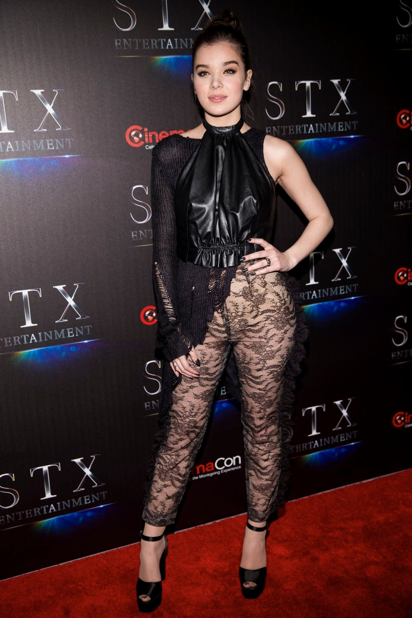 Hailee Steinfeld in a see through outfit at CinemaCon in Las Vegas ...