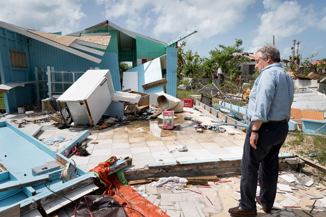 Secretary-General António Guterres walks through Codrington town in Barbuda to see firsthand the devastation left behind by Hurricane Irma. Photo: Rick Bajornas / /UN Photo