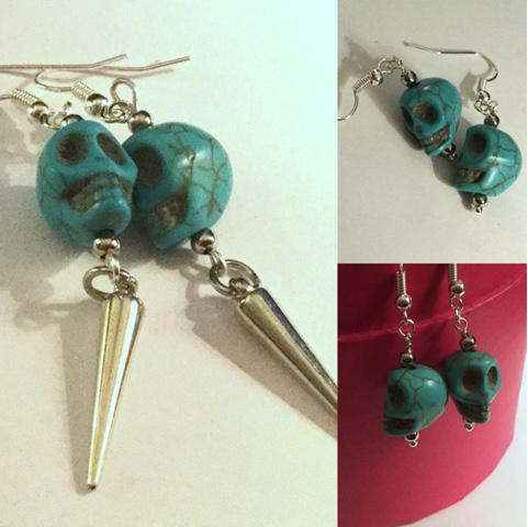 Handmade skull earrings by felicianation