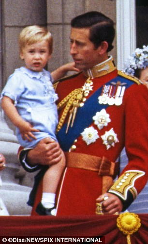 Prince William did back at the Trooping of the Colours in 1984, when he was a toddler in Prince Charles' arms.jpg