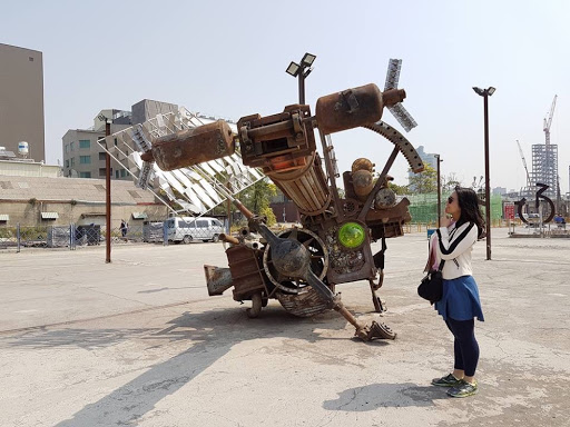 Time machine look alike at Pier-2 Art Center in Kaohsiung