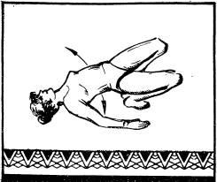 прогнуться в пояснице, упираясь локтями, ступнями ног и макушкой головы в пол, поднять таз