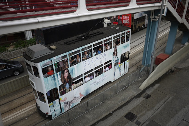 Tram in Hong Kong with Escada advertising