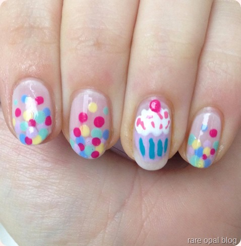 Cupcake and Confetti Birthday Nail Art Essence Hello Marshmallow, that's what I mint, sweet as candy, 17 miami azure amore, no.7 lemon drop, barry m guava, models own hyper gel white light