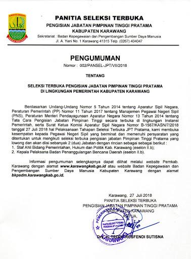 Pemkab Karawang Resmi Membuka Seleksi Terbuka Untuk Pengisian Jabatan Pimpinan Tinggi Pratama