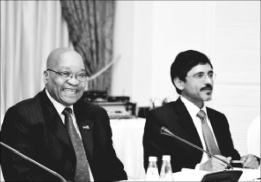 President Jacob Zuma met with the Economic Crisis Leadership task team, tasked with working on the country's response to the global economic crisis.  The task team was established in February this year, and presented its last report to the President in August. President Zuma with minister of Economic Development , Mr Ebrahim Patel.  Presidential Guest house - Pretoria. 03/12/2009.