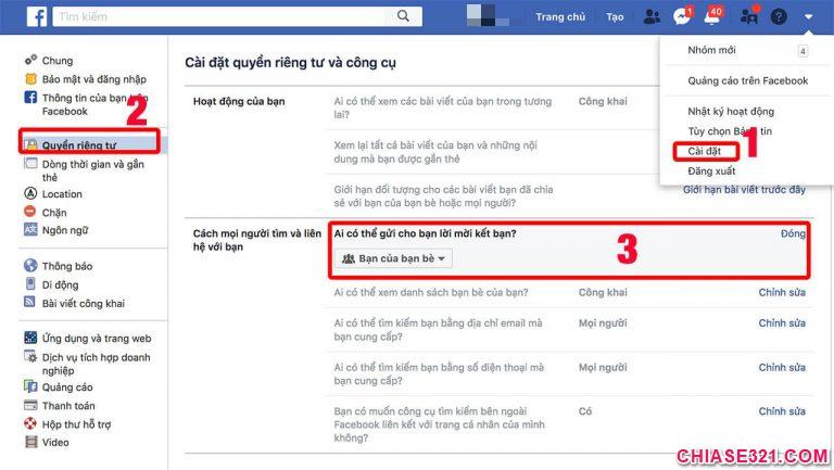 cách tắt nút kết bạn trên facebook