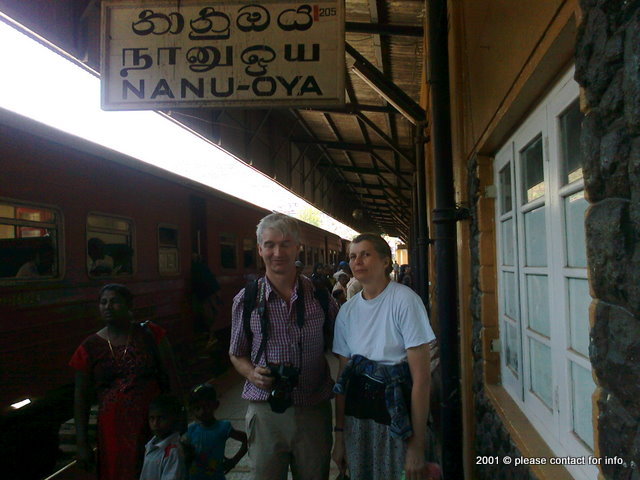Olga Shakirova n Colin Schaverien at the Nanu-Oya railway station
