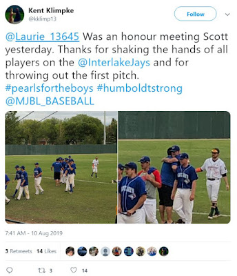 One of Interlake team representatives tweeted to Laurie about the opening ceremonies (Pearls for the Boys were talked about)