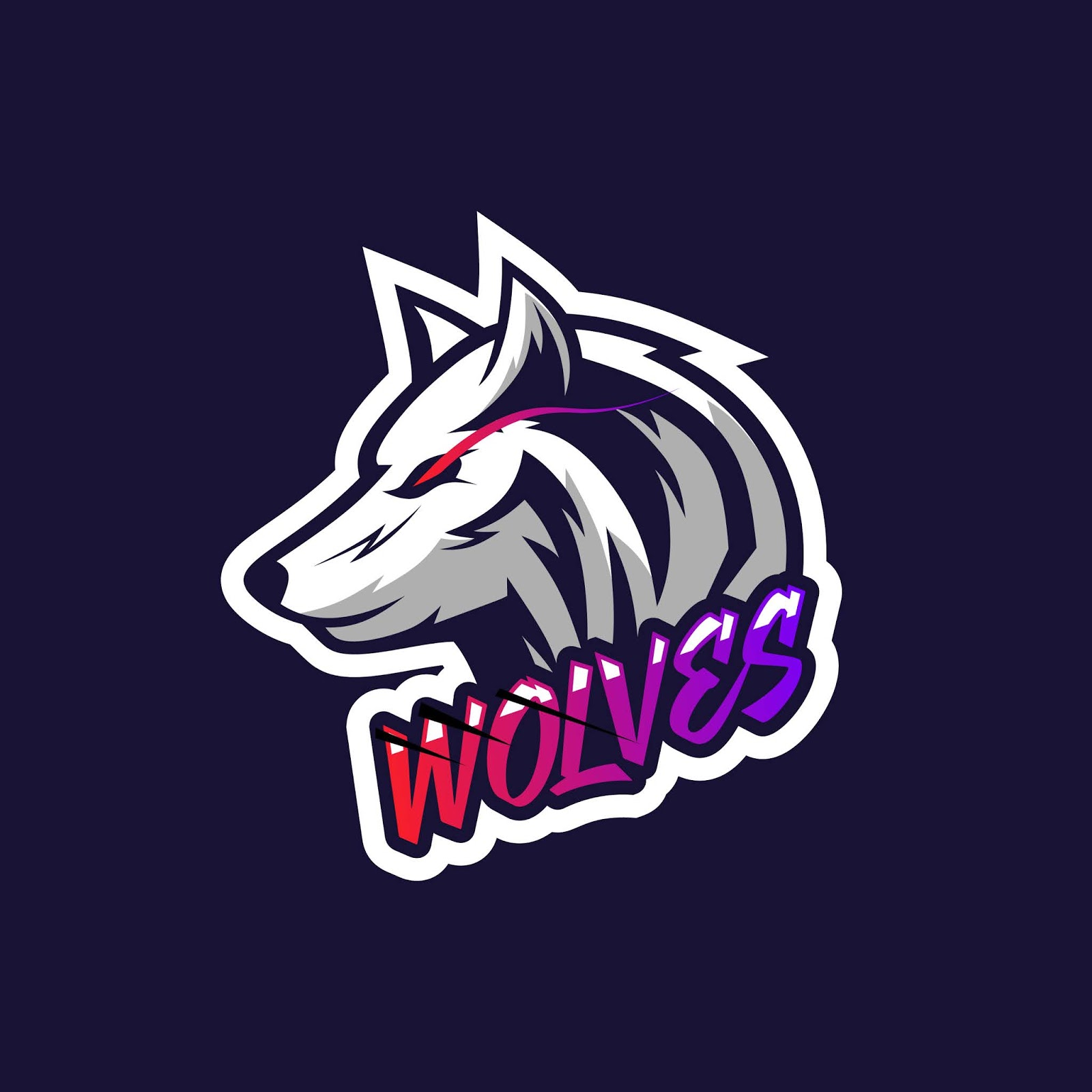 Simple Wolves Head Logo Illustration Gaming Squad Free Download Vector CDR, AI, EPS and PNG Formats