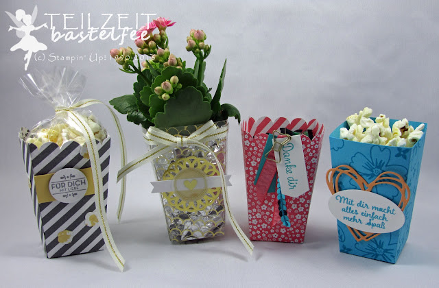 Stampin' Up! Thinlits Popcorn-Schachtel, Popcorn Box, Für Lieblingsmenschen, Love&Affection, Zum Dank, Thoughtful Thanks, Designer Series Paper, Fabulous Foil Designer Acetate, Designerazetat Glanzstücke, Hausgemachte Leckerbissen, Homemade for you, Thinlits Grüße voller Sonnenschein, Sunshine Wishes Thinlits