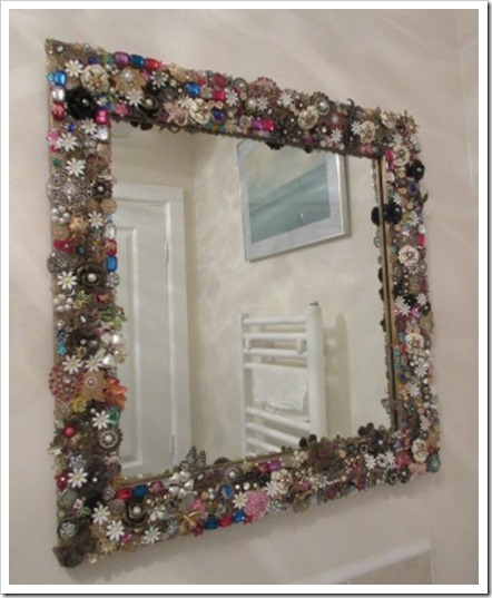 jewelled mirror in bathroom