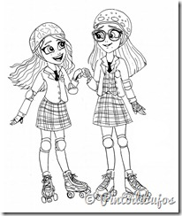 Luna y Nina patinando para colorear | Soy Luna para colorear