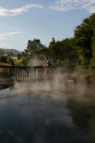 Across a steaming pond, Rotorua Thermal Area