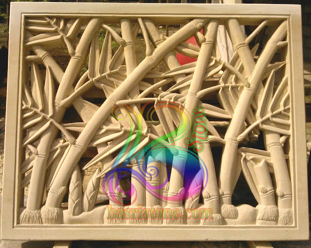 Relief roster bambu batu alam paras jogja