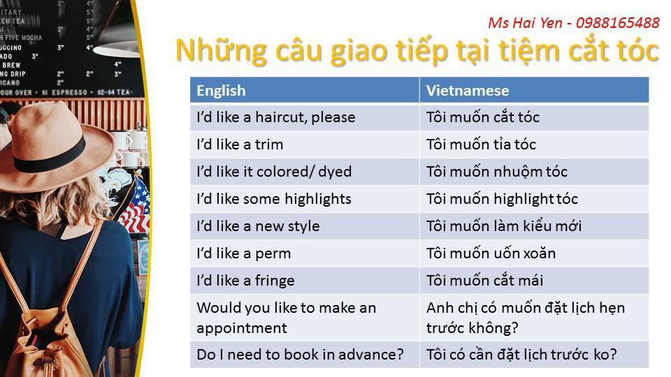 Những mẫu câu yêu cầu tiếng Anh khi đi cắt tóc