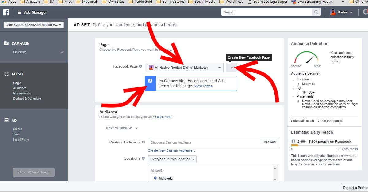 Facebook Ads Ad Set Page