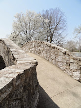 Photo: Stone bridge and white pear blossoms at Eastwood Metropark in Dayton, Ohio.