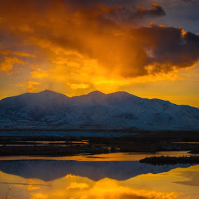 Sunset in Utah by Mark Lawrence - Landscapes Sunsets & Sunrises ( clouds, water, reflection, sunset, landscape )