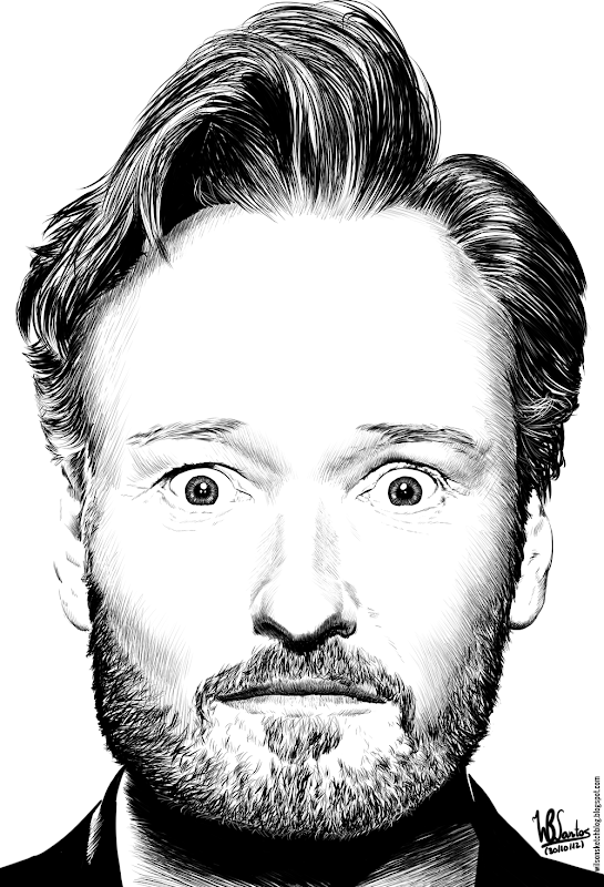 Ink drawing of Conan O'Brien, using Krita 2.4.