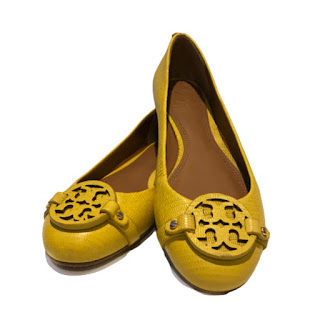 Tory Burch Yellow Leather Flats