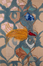 """Photo: Something & Nothing 11"""" X 17""""  Hand embroidery, beadwork and acrylic paint on linen. All rights reserved, 2015."""