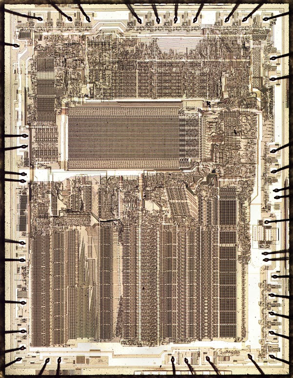 Die photo of the Intel 8087 floating point coprocessor chip.