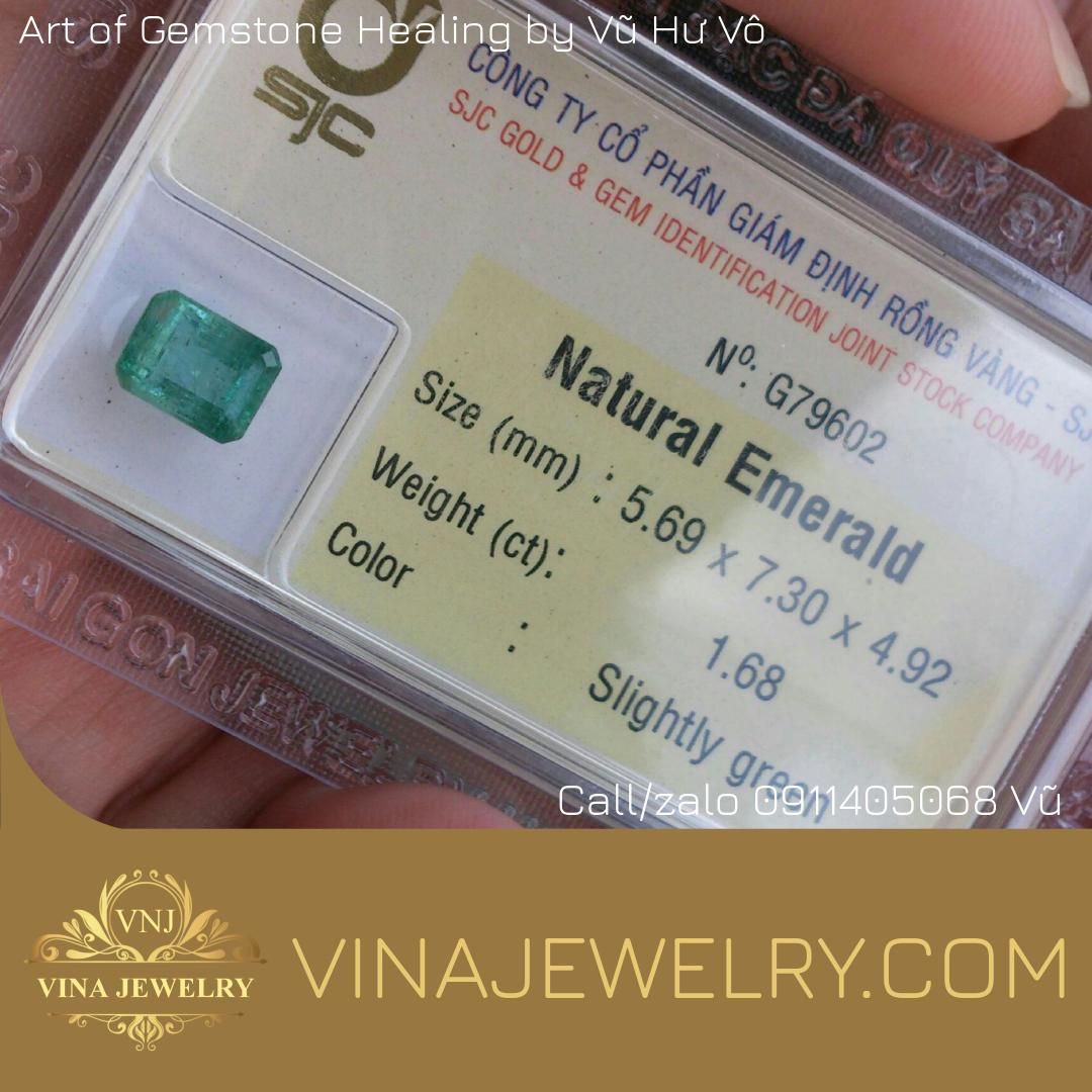 Đá quý Ngọc Lục Bảo, Natural Emerald 1.68cts hình chữ nhật đã kiểm định SJC Rồng Vàng