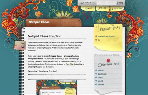 Notepad Chaos template blogger