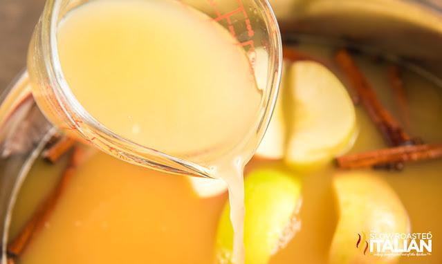 lemon juice poured into the pot