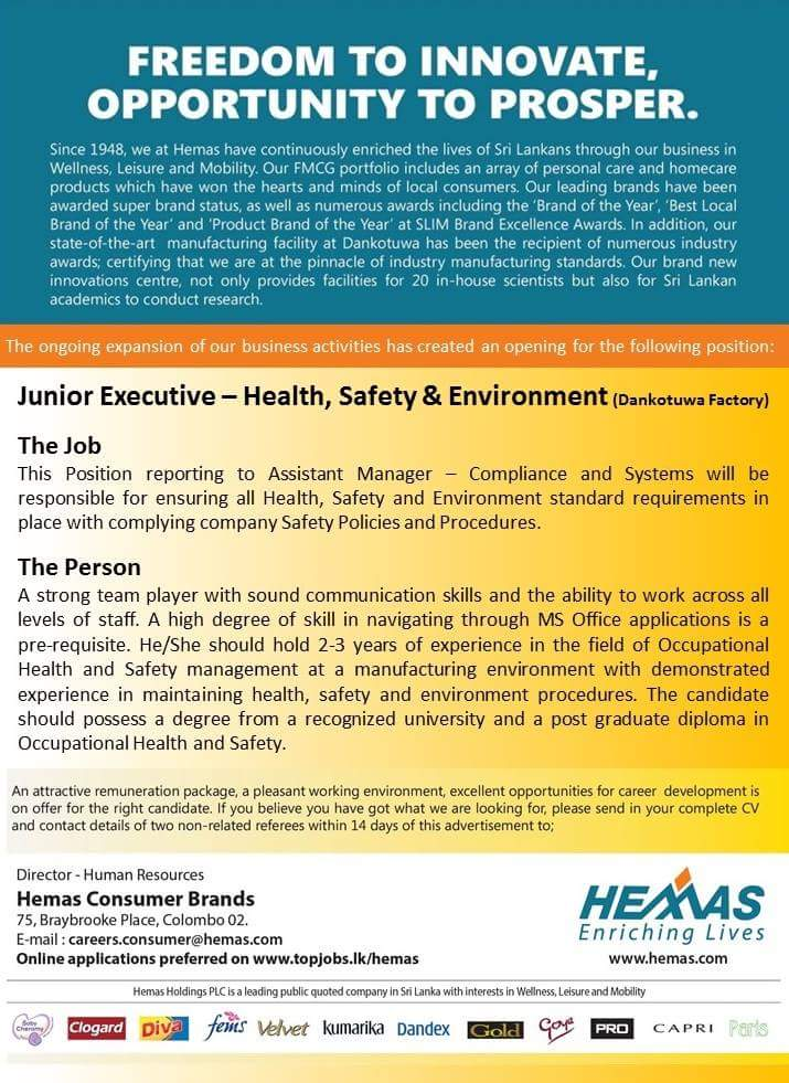 Junior executive health and safety - Job Vacancies in Sri