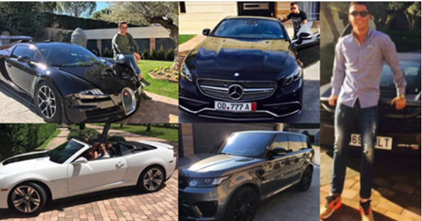 See Cristiano Ronaldo's Astonishing Collection Of Cars Including 3 Porsches, 2 Bugattis, 2 Ferraris & They Are Worth Almost £6Million (Photos)