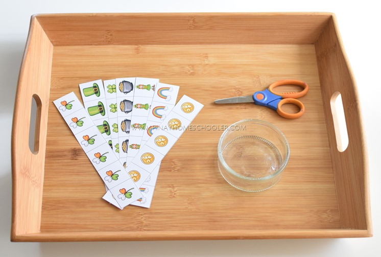 Cutting strips with St. Patrick's Day icons