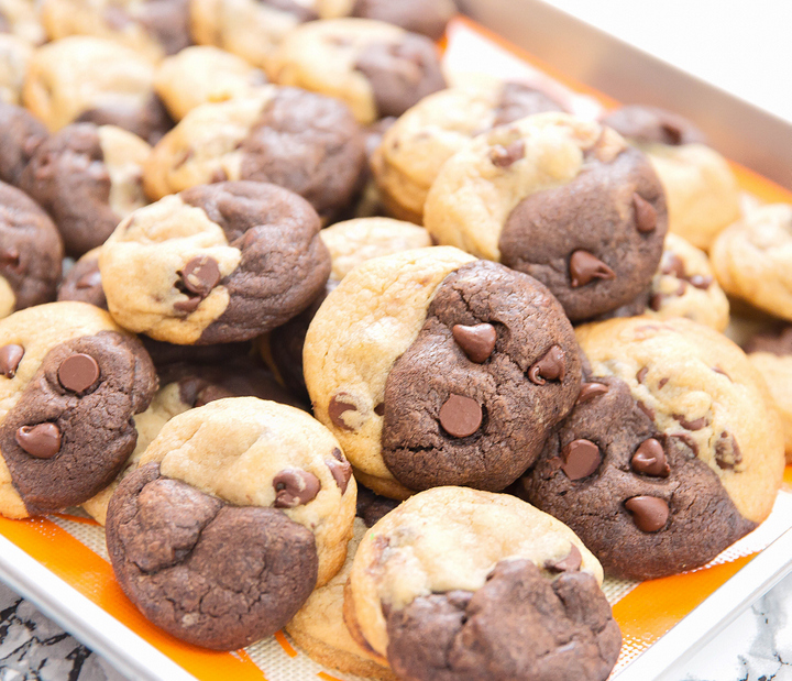 photo of a pile of Marble Soft Chocolate Chip Cookies