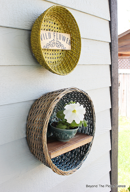 Thrift Store Baskets on the Porch