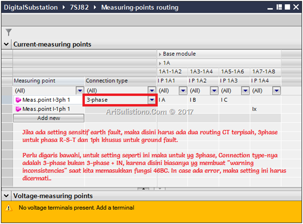 contoh Measuring points routing untuk overcurrent   sensitive earth fault   broken conductor