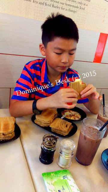 Monkey boy with his Kaya Toast + Ice Milo