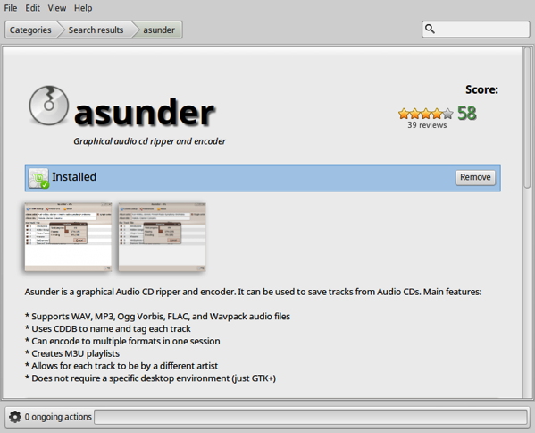 Ausnder is installed