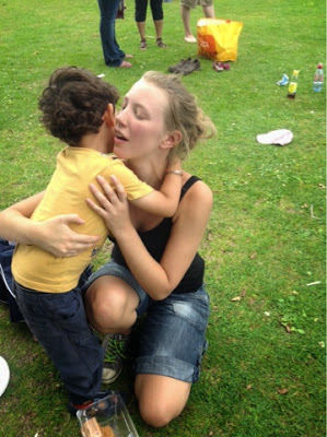 my boy hugging nursery staff