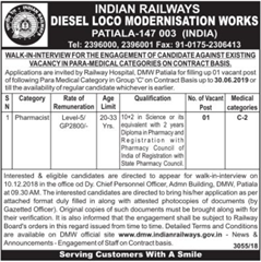 DMW Patiala Advertisement 2018 indgovtjobs