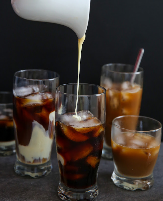 ... cold-brewed coffee with ice and condensed milk, for a cold and