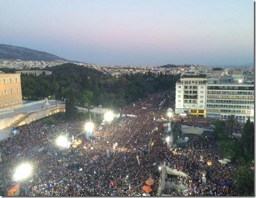 Photo - Pro-OXI demonstration outside Greek parliament, July 3